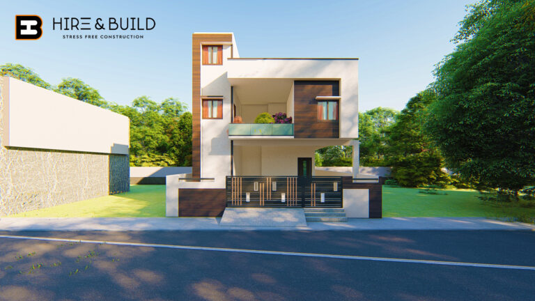 Elevation design of a 4bhk house