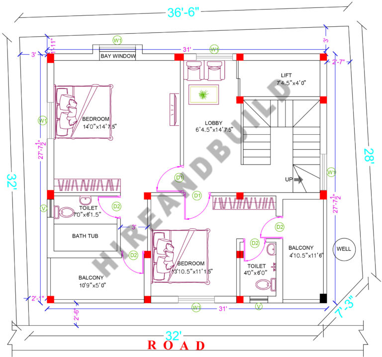 1200 sq ft house plan:First floor