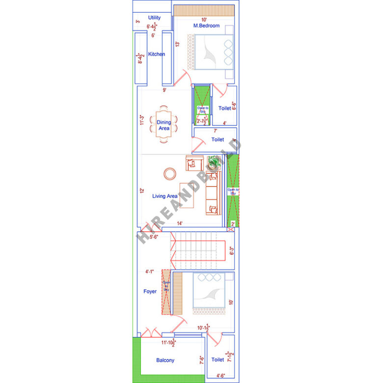 1100 sq ft 2bhk house plan|first floor
