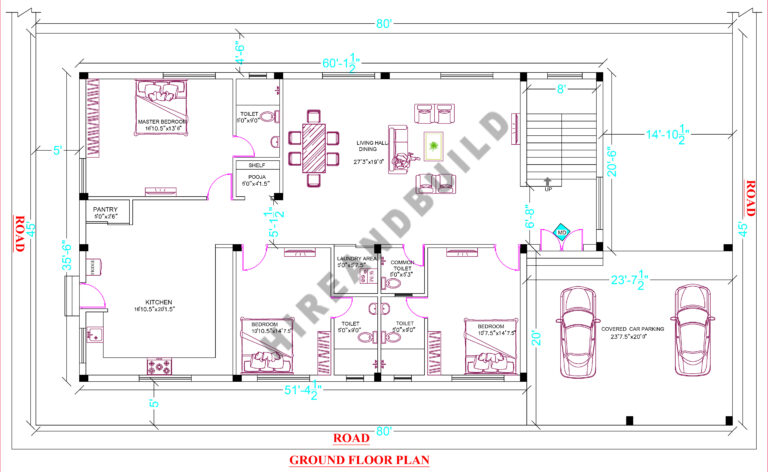 3bhk house plan with car parking:Gf