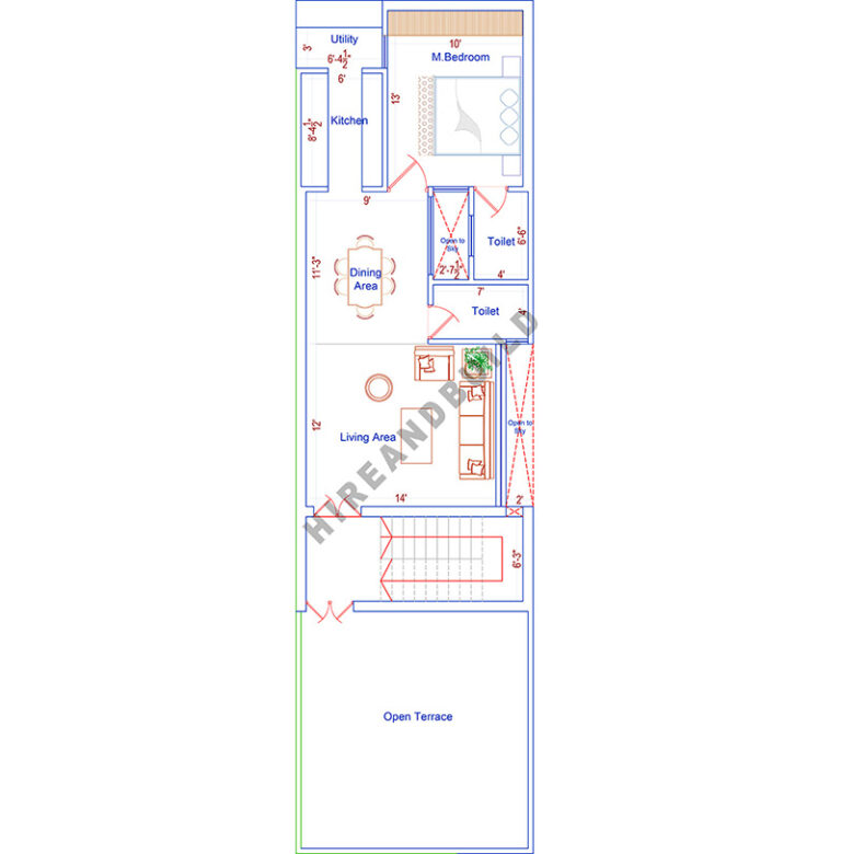 1100 sq ft 2bhk house plan| second floor