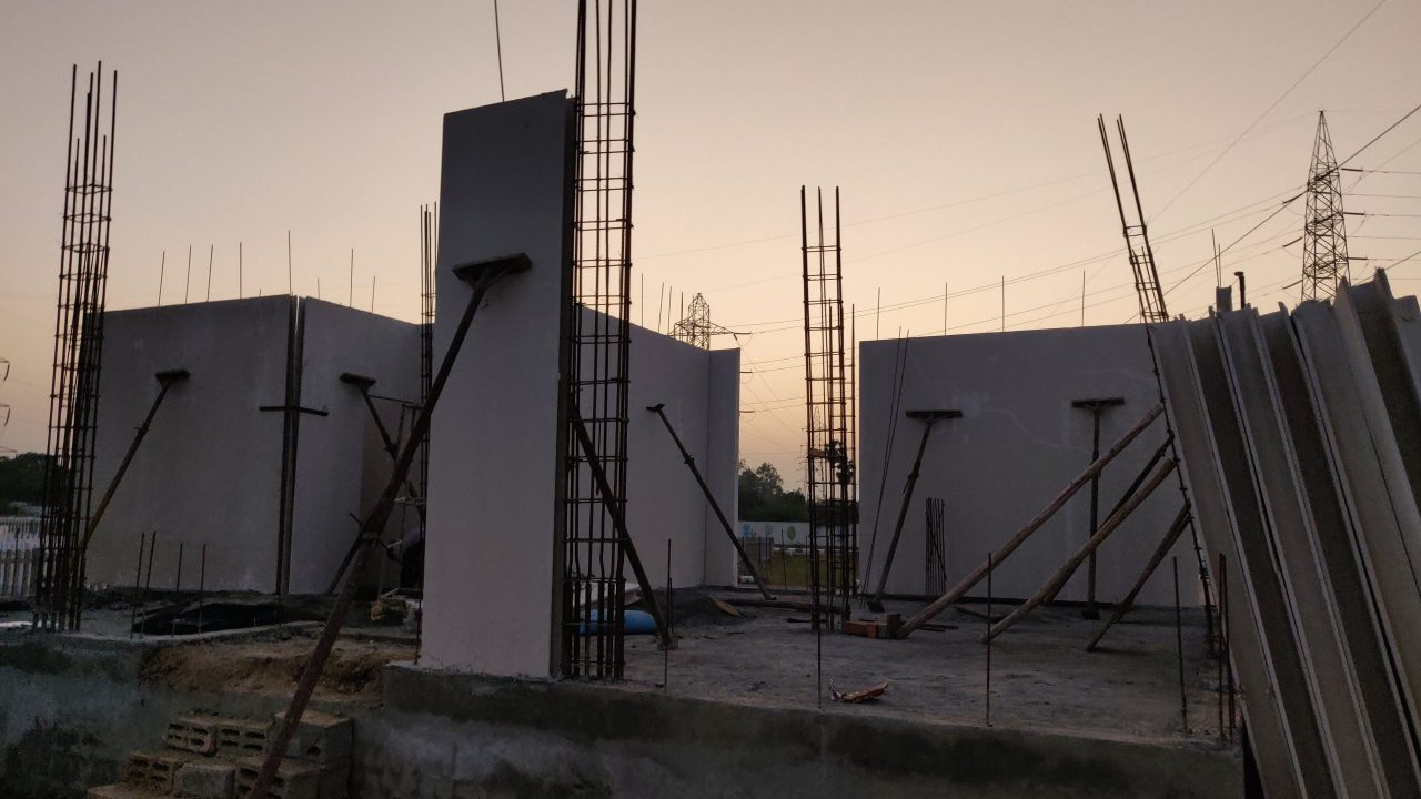 gfrg wall erection